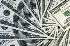 100 old dollar bills. Fan stack close up royalty free stock photos