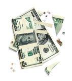 Old dollar bills. Ragged, glued, worn, scorched bills. 3d illustration.  on white background stock photography