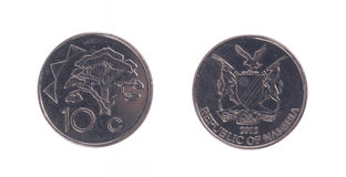 Old 10 dollarcent coin, Namibian currency Royalty Free Stock Image