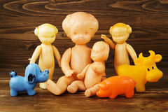 Old dolls and other toys Royalty Free Stock Photo