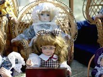 Old dolls. For sale at antiques fair Royalty Free Stock Images