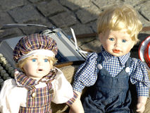 Old dolls. For sale at antiques fair Royalty Free Stock Image