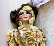 Old dolls. Old vintage antique dolls at an art exhibition royalty free stock photography