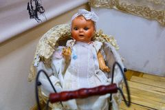 Old dolls. Old vintage antique dolls at an art exhibition stock photography
