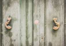 Old Dolphin Shaped Metal Knockers on Green Wooden Doors in Mdina Royalty Free Stock Images