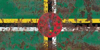 Old Dominica grunge background flag. Old flag royalty free stock photos