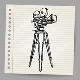 Old doodle vector hand-drawn camera Stock Images