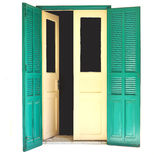 Old door 01. An old wooden door with turquoise painted shutters, usually placed as an entrance to a balcony Royalty Free Stock Image