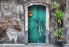 Old door. Photo of facade oh old house with green door and palm stock image