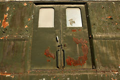 Old door. Door and rust on old train stock photos