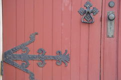 The old door. Old church door with hinge Royalty Free Stock Photography