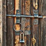 Old door. Old locked door closeup shot Royalty Free Stock Image
