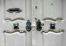 Old door. Old white wooden door with details Stock Image