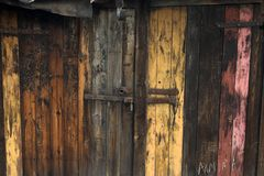 Old door. On polish slums Stock Photography