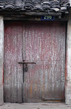 Old door. A lot of words written on an old wooden door Royalty Free Stock Photography