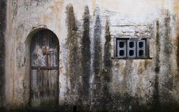 Old Door in Ancient Town Stock Images