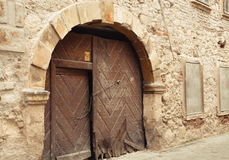 Old door in the architecture of the city Sopron, Hungary Royalty Free Stock Photo