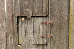 Old Door In Barn Wood with Hinges and Knob Stock Photo
