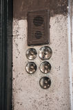 Old door bell. Photograph of old door bell buttons and speaker Stock Photography