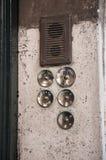 Old door bell. Photograph of old door bell buttons and speaker vector illustration