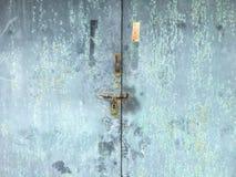 Old door. Old blue metallic door Stock Image