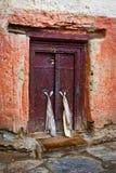 Old door at Buddhist monastery temple Stock Photo