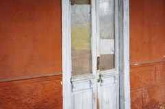 Old door. Old closed glass door white Stock Photo