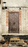 Old door on constriction site Royalty Free Stock Image