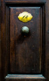 Old door with the door handle and nameplate with number Royalty Free Stock Photos