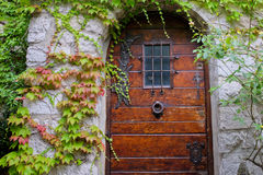 Old Door Eze village, France. Old wooden door in the medieval city of Exe, France Stock Photo