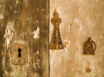 Old Door Fittings. Authentic medieval lock and fittings on a door in Mdina on the island of Malta Royalty Free Stock Photos