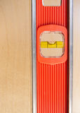 Old Door Gets Installed Leveled up By Long Orange Level Tool Royalty Free Stock Photo