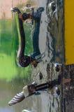 Old door handle on front castle door Royalty Free Stock Photos