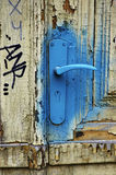 Old door handle sprayed with blue paint, HDR Royalty Free Stock Images