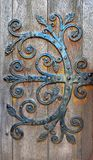 Old door hinge made of steel in St Magnus Cathedral, Kirkwall, Scotland stock images