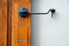 Old door with hook Royalty Free Stock Images