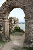 Old door. From a house with the sea as background - S Martinho do Porto - Portugal Stock Photos