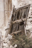 Old door Iron and wood. House abandoned cave entrance. old door . The cave houses are typical houses of northern province of Granada (Spain Royalty Free Stock Images