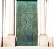 Old door in italy land europe architecture and wood the historic gate Royalty Free Stock Photography