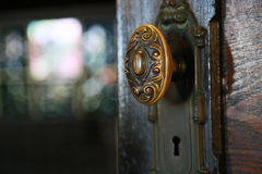 Old door knob. Scenery of old wooden door knob Stock Images
