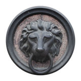 Old door knocker with the lion head design Royalty Free Stock Photos
