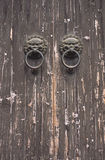 Old door with knockers. Door with lion themed knockers Royalty Free Stock Image