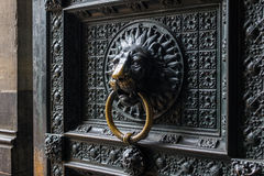 Old door with lion door knocker of  Cologne Cathedral Royalty Free Stock Photography
