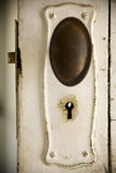 Old Door and Lock. Old fashioned keyhole on a classic timber door Stock Photography