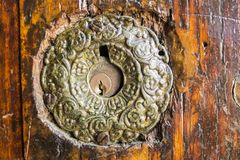Door lock on a very old door in Istanbul, Turkey royalty free stock photography