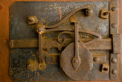 Old door lock. Ancient door lock mechanism close up Stock Photos
