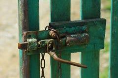Old door lock. In the east of Romania Stock Photos