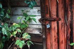 Old door locked with padlock Stock Image