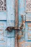 The old door locked with a padlock hanging brackets. Set of backgrounds Stock Photo