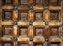 Old door made of wood with ancient pattern Royalty Free Stock Photos